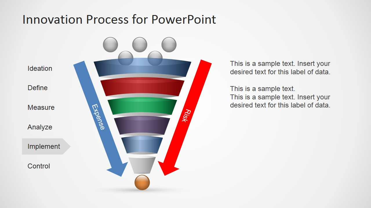 innovation process funnel diagram for powerpoint slidemodel process flow diagram examples