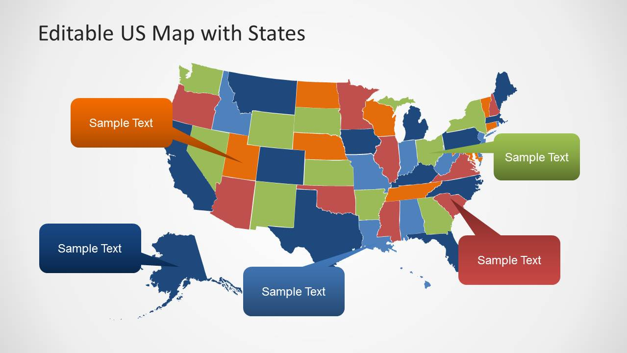 Editable US Map Template For PowerPoint With States SlideModel - Us map powerpoint template