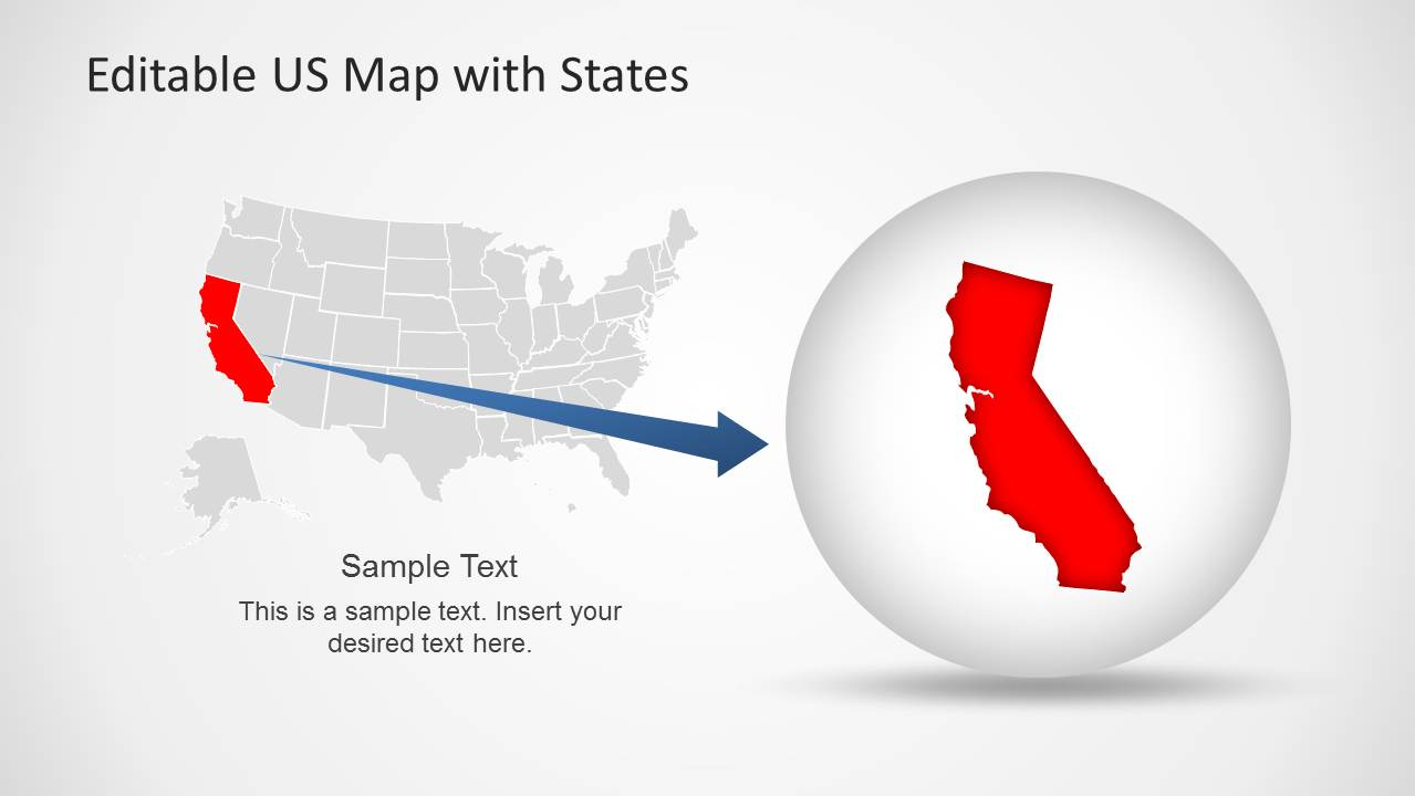 california state us map template slide design