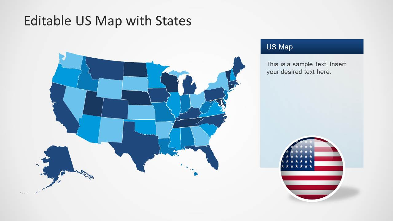 Editable US Map State for PowerPoint