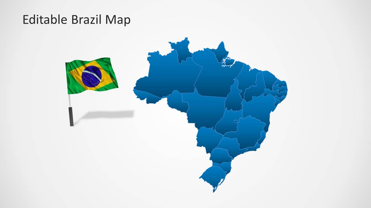 Editable brazil map template for powerpoint slidemodel powerpoint map of brazil with flag cliapart gumiabroncs Images