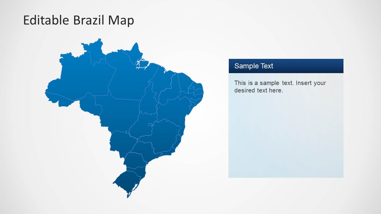 Editable Brazil Map Template for PowerPoint SlideModel