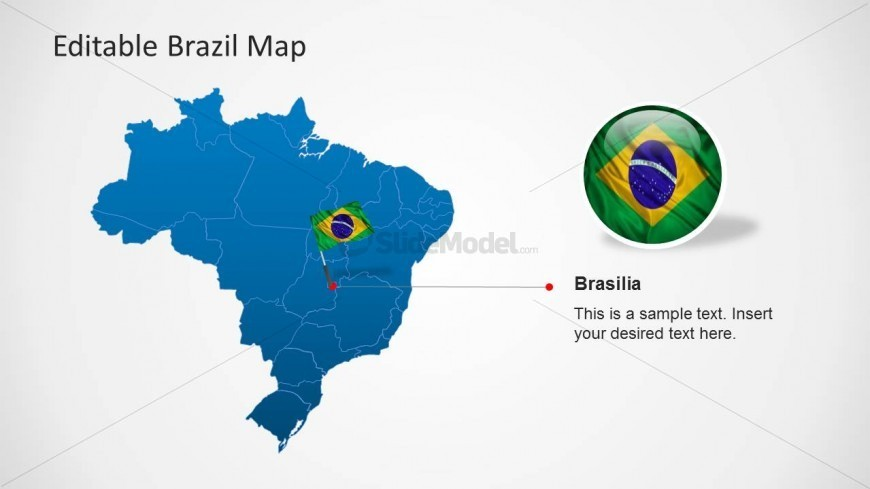Brazil PowerPoint Map with Brasilia Capital City