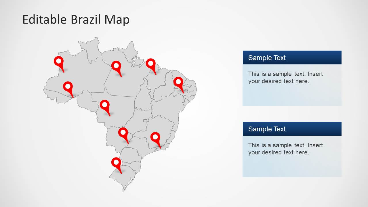 PowerPoint Map of Brazil Political Outline