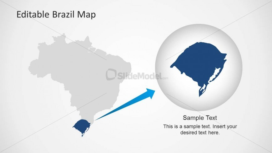 PowerPoint Map of Brazil with Magnified State