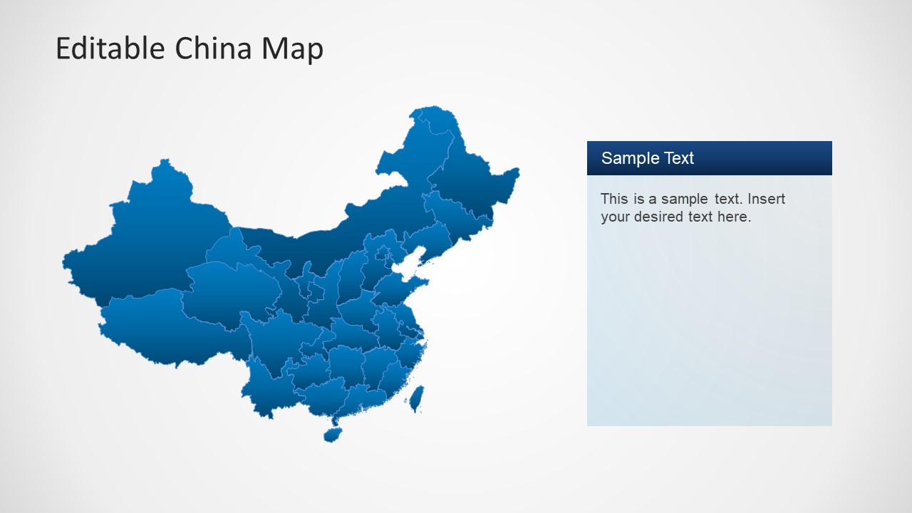 Political Outline of China Map for PowerPoint