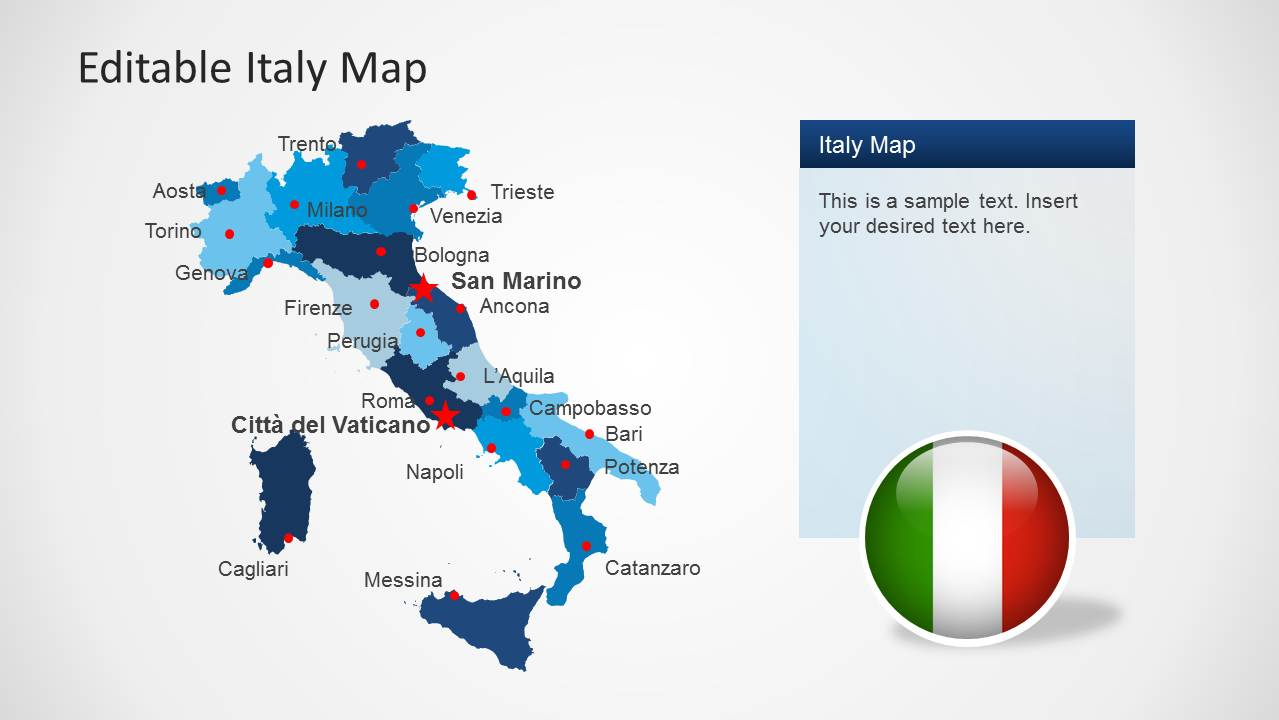 editable italy map template for powerpoint