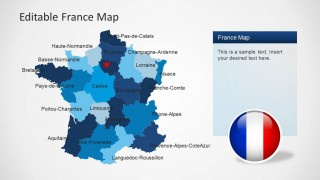 PowerPoint Map of France with States Limits highlights and Paris Marker