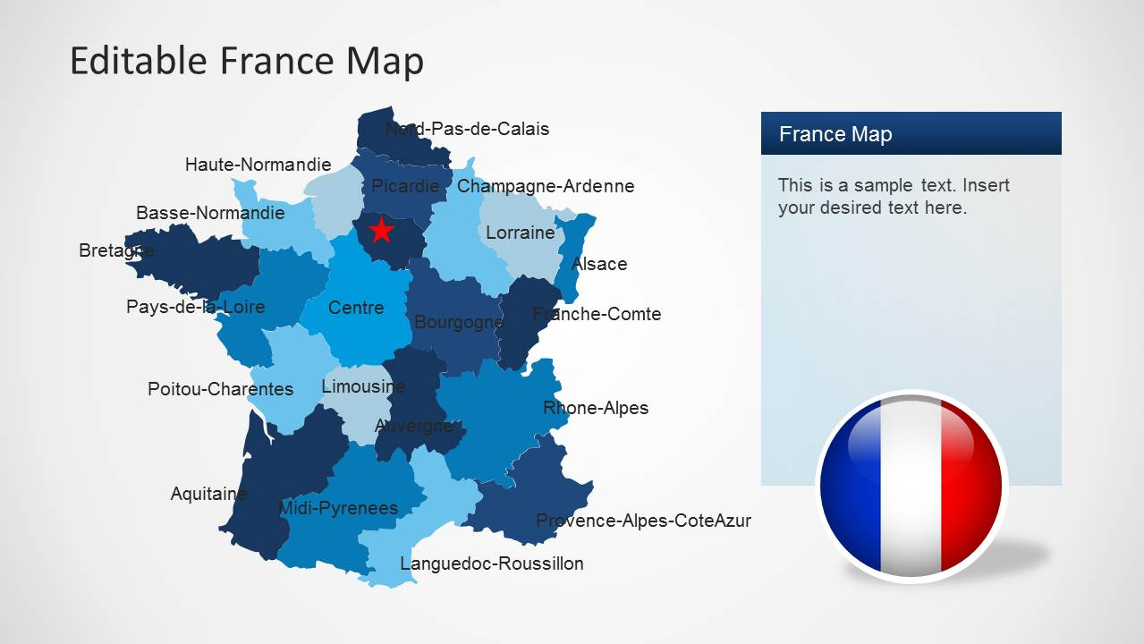 Map Of France With States.Editable France Map Template For Powerpoint