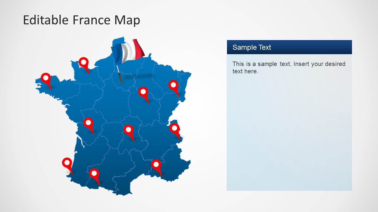 Map of France PowerPoint Template with Location Icons