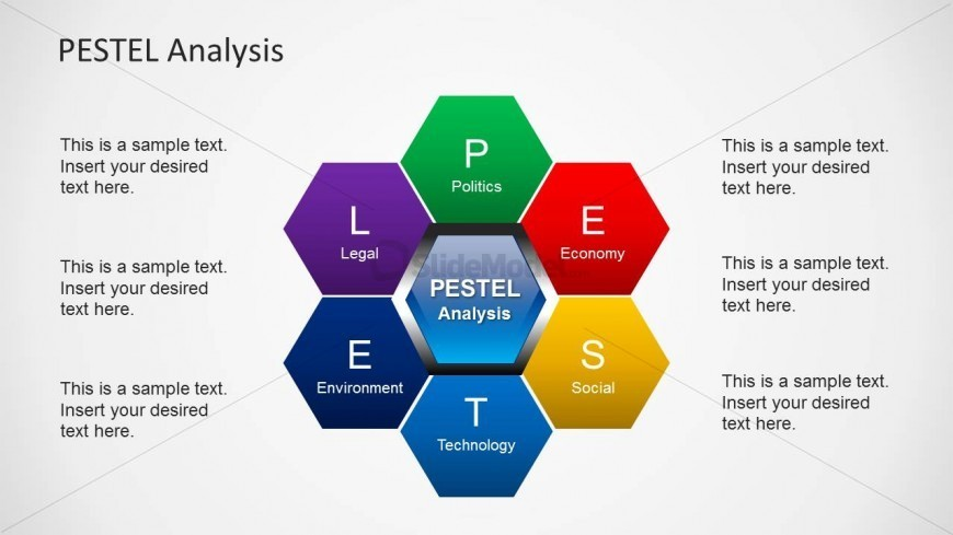PESTEL Honeycomb Structure Design for PowerPoint - SlideModel