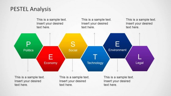 PESTEL Alternating Hexagons Diagram Slide Design for PowerPoint