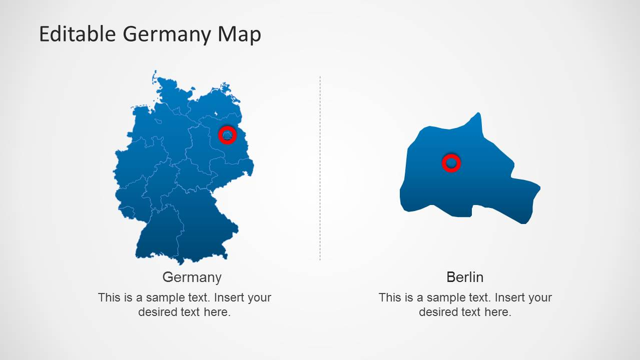 Editable germany map template for powerpoint slidemodel powerpoint map of germany with berlin capital toneelgroepblik Gallery