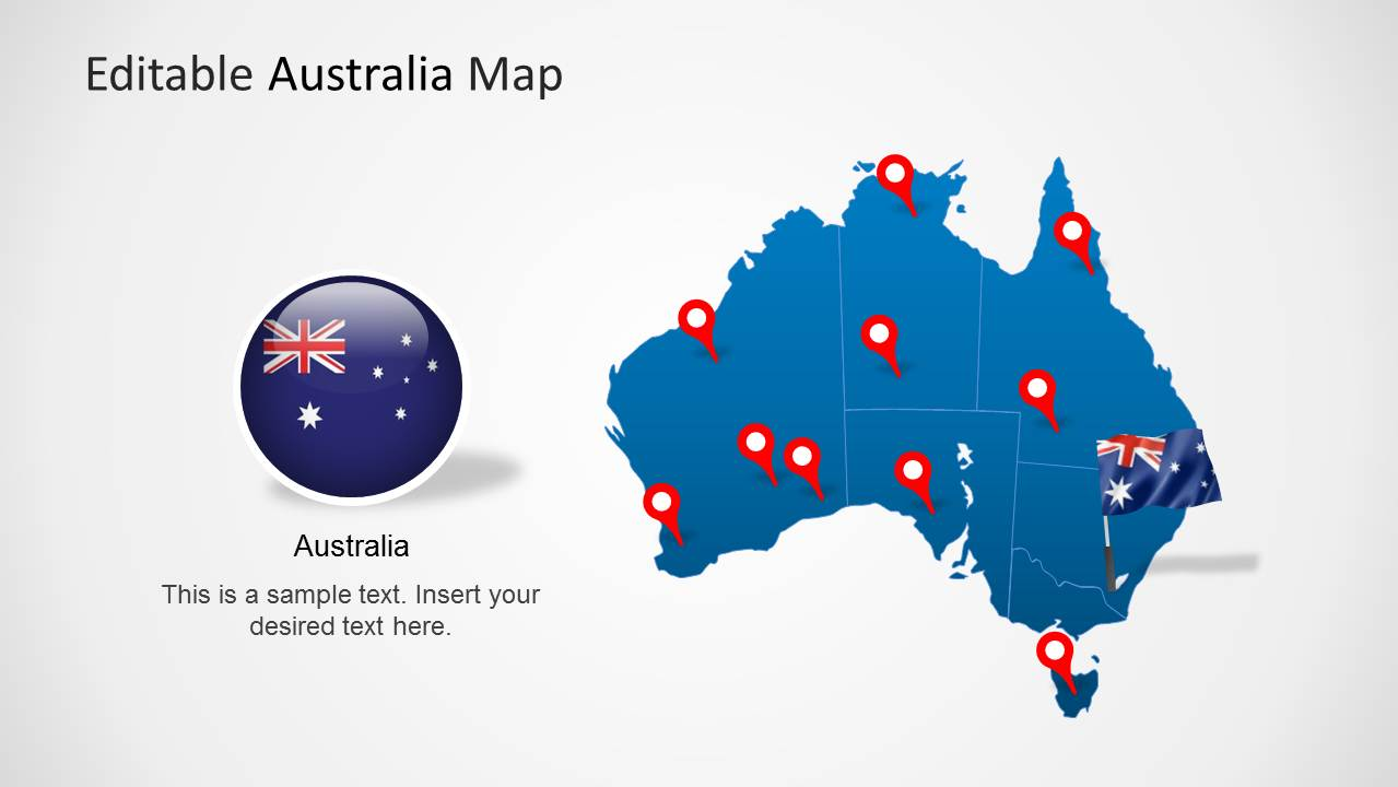 Australia Map With Flag.Australia Map Template For Powerpoint