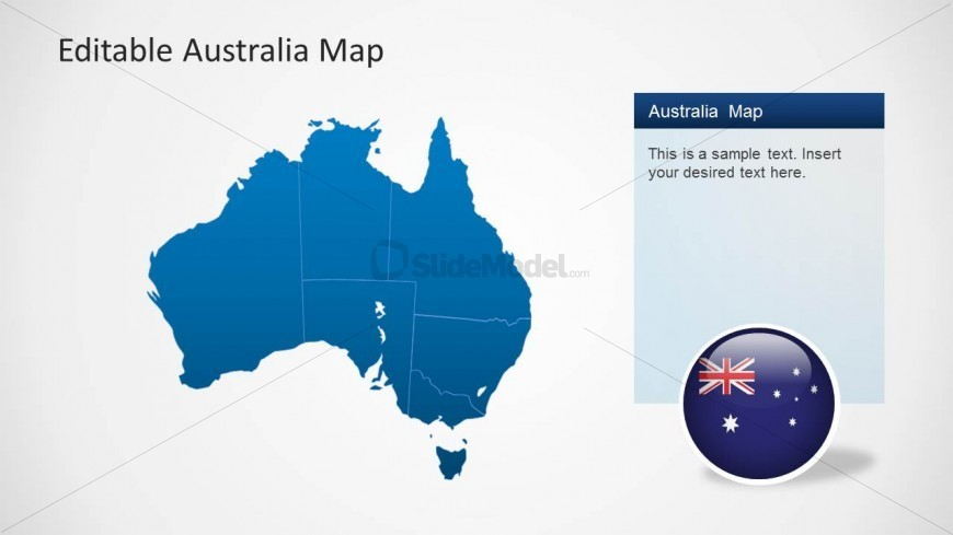 PowerPoint Map of Australia with Flag Icon