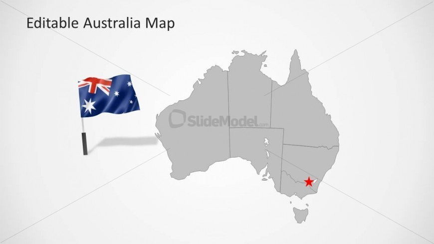 Australia Map with Flag Icon for PowerPoint