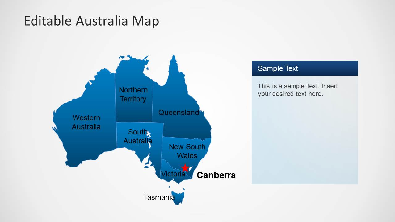 Australia Map Canberra.Australia Map Template For Powerpoint