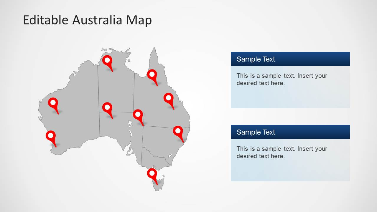 australia powerpoint map template grey design