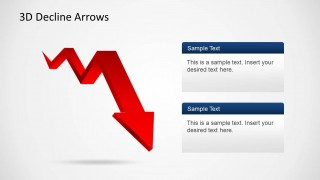 Red Decline Zig Zag Arrow for PowerPoint