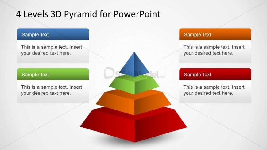 Four layers Segmented PowerPoint Pyramid Diagram