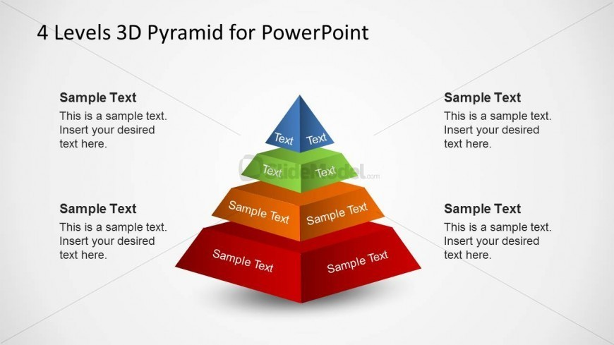 4 Layers 3D PowerPoint Pyramid Diagram