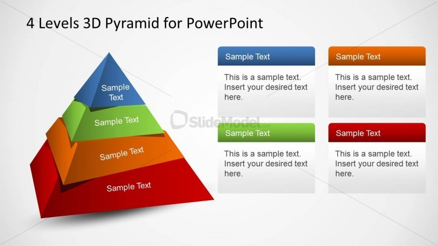 4 Rotated Levels 3D Pyramid PowerPoint Diagram