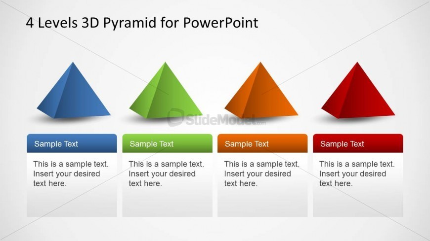 4 PowerPoint Pyramid Shapes in a row