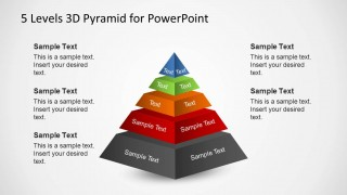5 Levels Pyramid Diagram Slide for PowerPoint With 3D Vectors