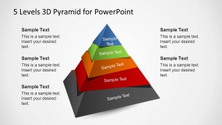 3D Pyramid Template for PowerPoint with 5 Levels