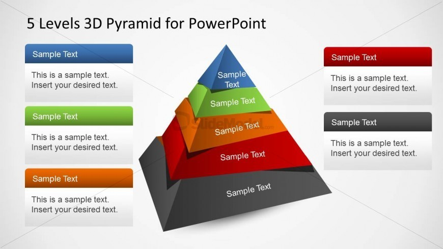 5 Stages 3D Pyramid Segmented Diagram PowerPoint Template