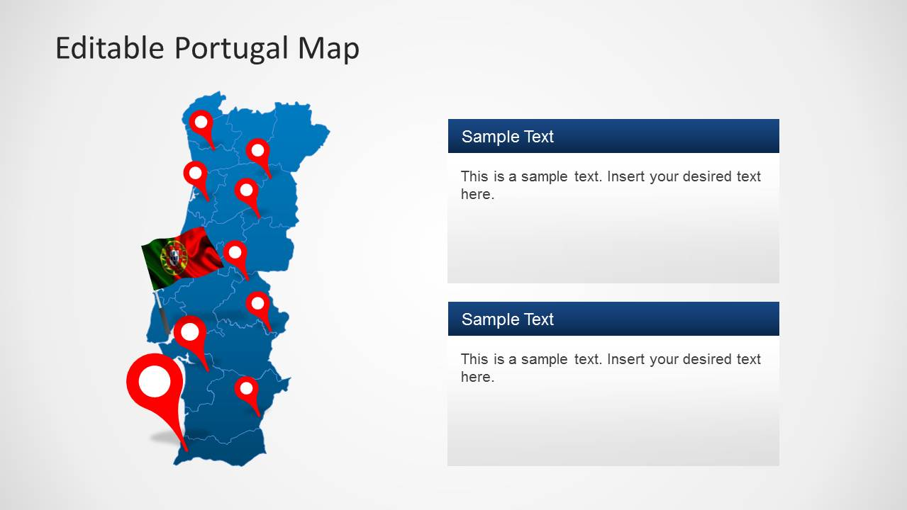 editable portugal map template for powerpoint