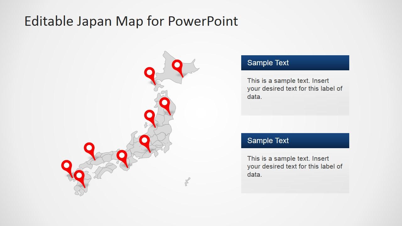 Japan map template for powerpoint slidemodel ppt template of japan map toneelgroepblik Gallery