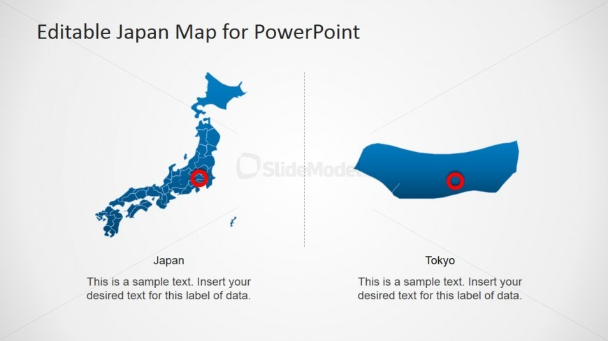 Japan PowerPoint Map with Tokyo