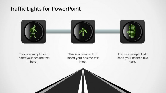 3 Traffic Lights Horizontal Layout Slide Design