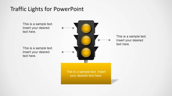 Yellow Traffic Light Slide for PowerPoint