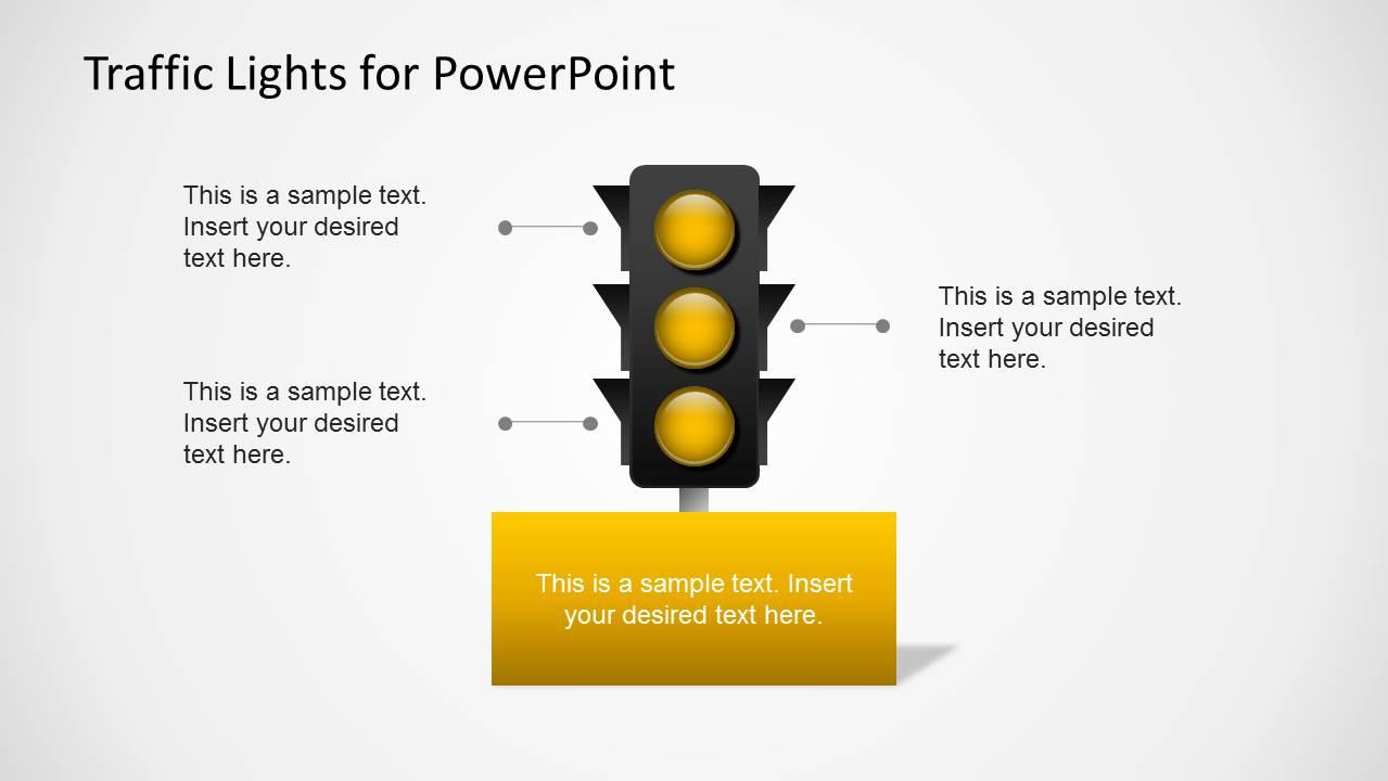 Yellow Traffic Light Slide for PowerPoint