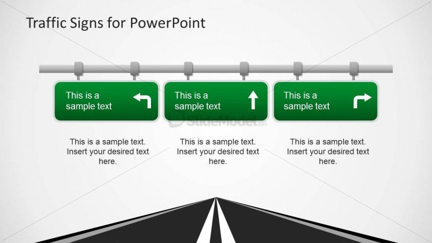 three road signs powerpoint template - slidemodel, Modern powerpoint