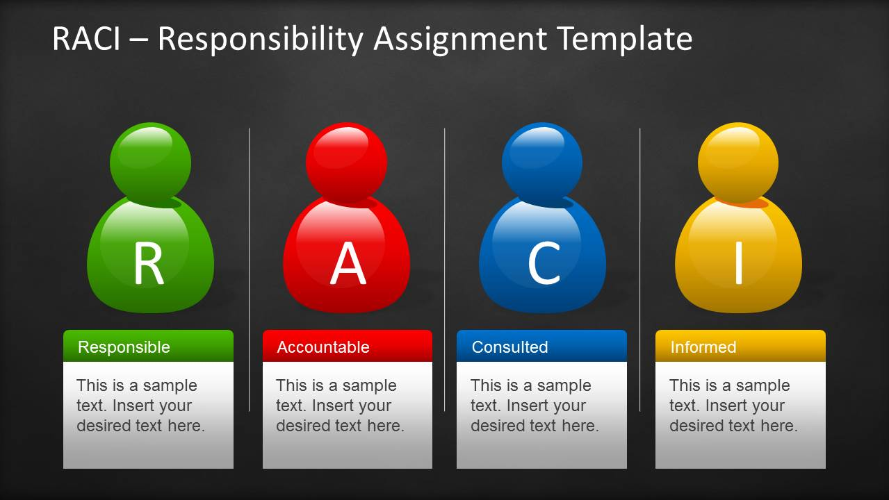 raci template for powerpoint with sticky notes blackboard