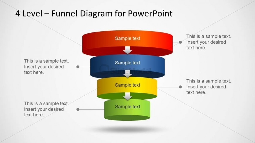 3d PowerPoint Layered Funnel Diagram with four steps