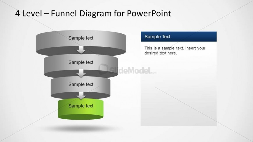 4 Cylindrical PowerPoint Layers featuring a funnel diagram
