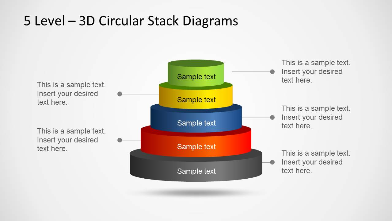 3D Circular Stack Diagram For PowerPoint With 5 Levels