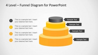 4 Level Funnel Diagram Template for PowerPoint with Circular Cone Base