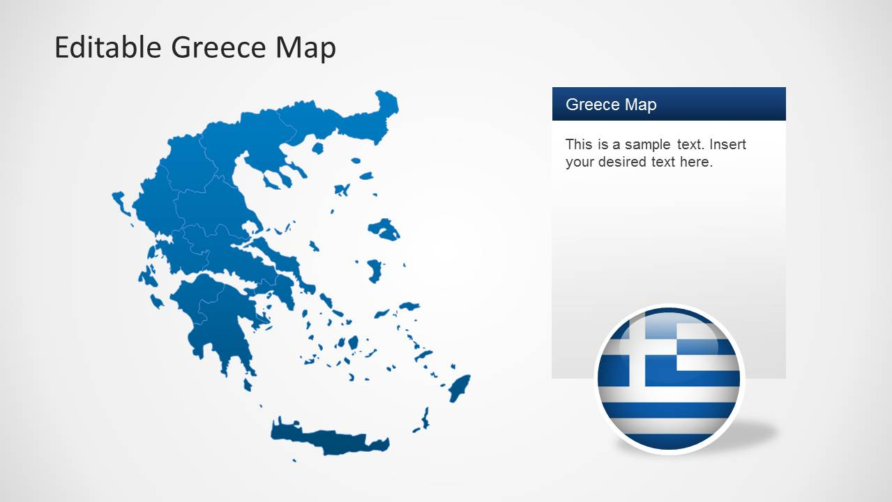 editable greece map template for powerpoint