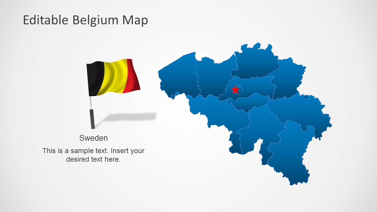 Editable Belgium Map Template for PowerPoint