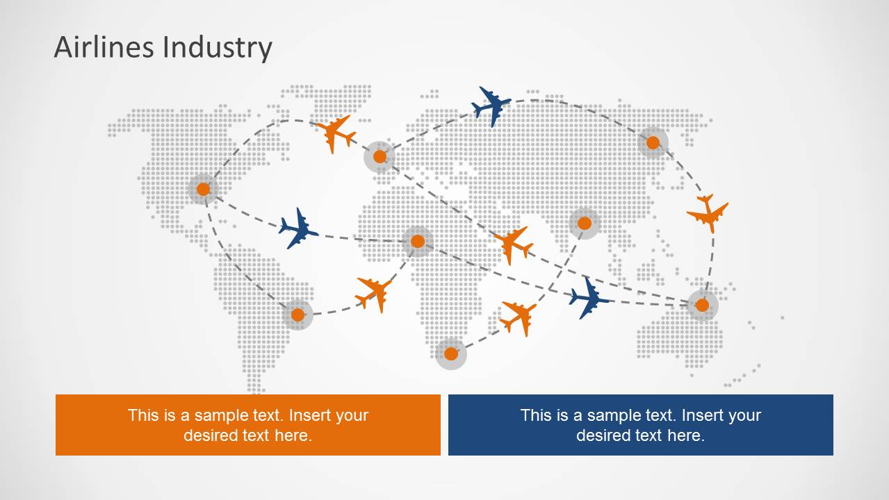 Airlines industry powerpoint template slidemodel airlines industry powerpoint template flight path powerpoint slide design with world map toneelgroepblik Images