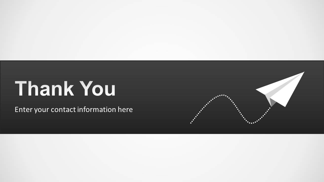thank you slide design for powerpoint with paper plane