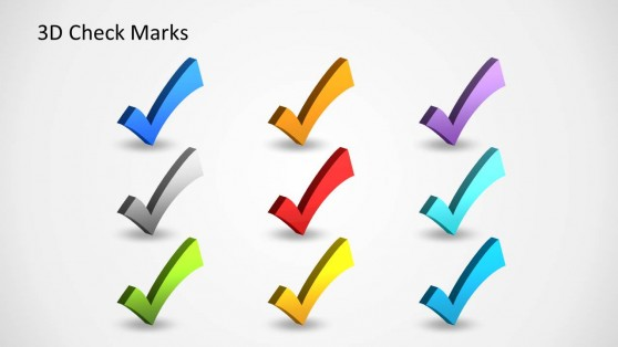 Colorful 3D Check Marks Shapes for PowerPoint