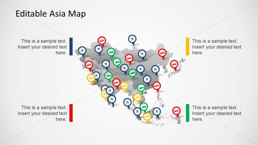 Editable Asia Map for PowerPoint