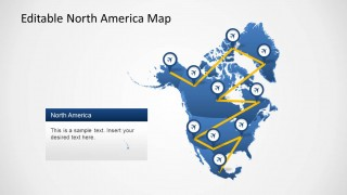 North America Map Path Slide Design for PowerPoint
