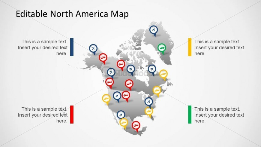 North America Map Template for PowerPoint with Map Marker Icons